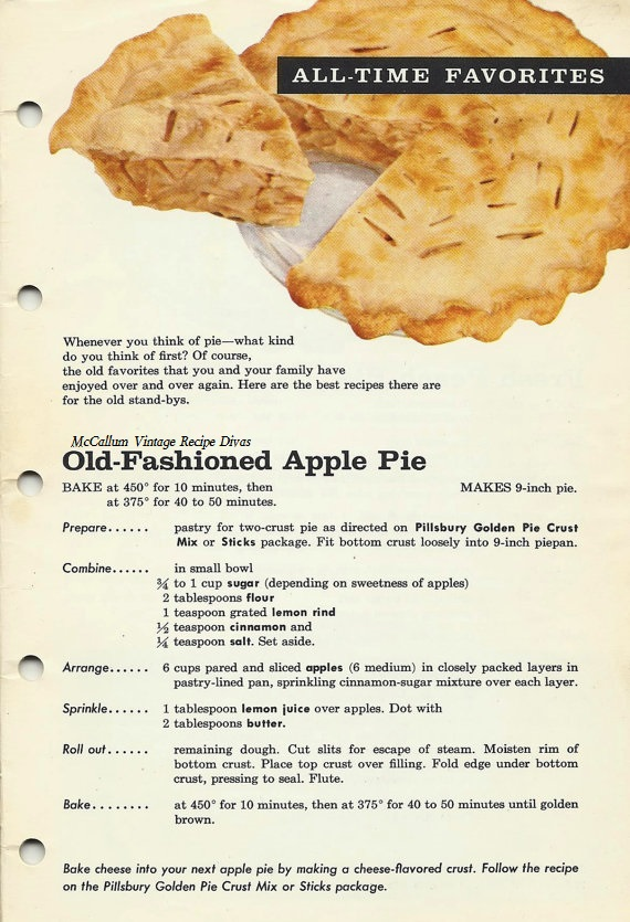 Old Fashioned Apple Pie 1961,The Vintage 1961 cookbook, Fabulous Pies ...